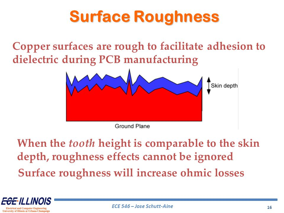 Surface Roughness Copper surfaces are rough to facilitate adhesion to dielectric during PCB manufacturing.