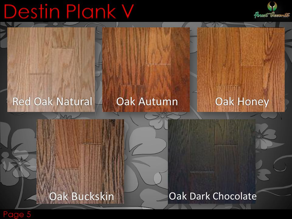 Destin Plank V Red Oak Natural Oak Autumn Oak Honey Oak Buckskin