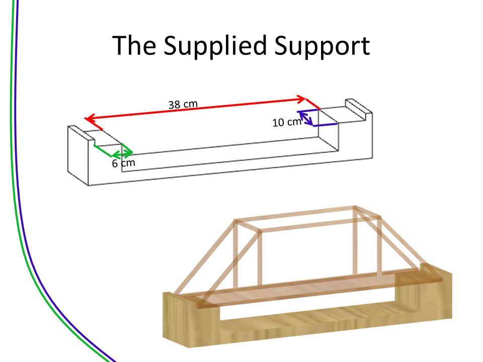 The Supplied Support 38 cm 10 cm 6 cm