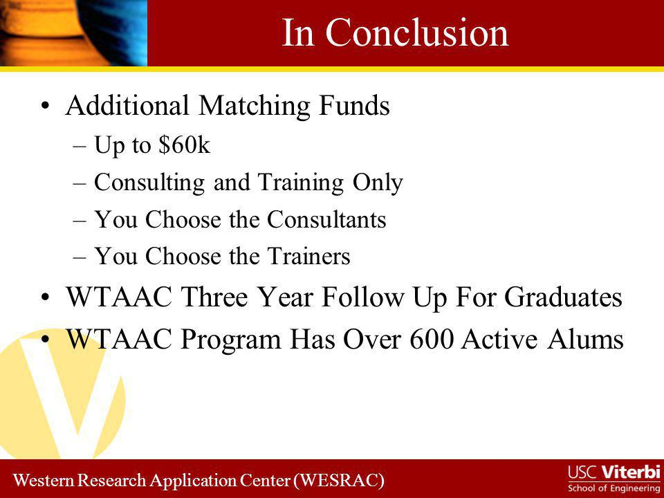 In Conclusion Additional Matching Funds