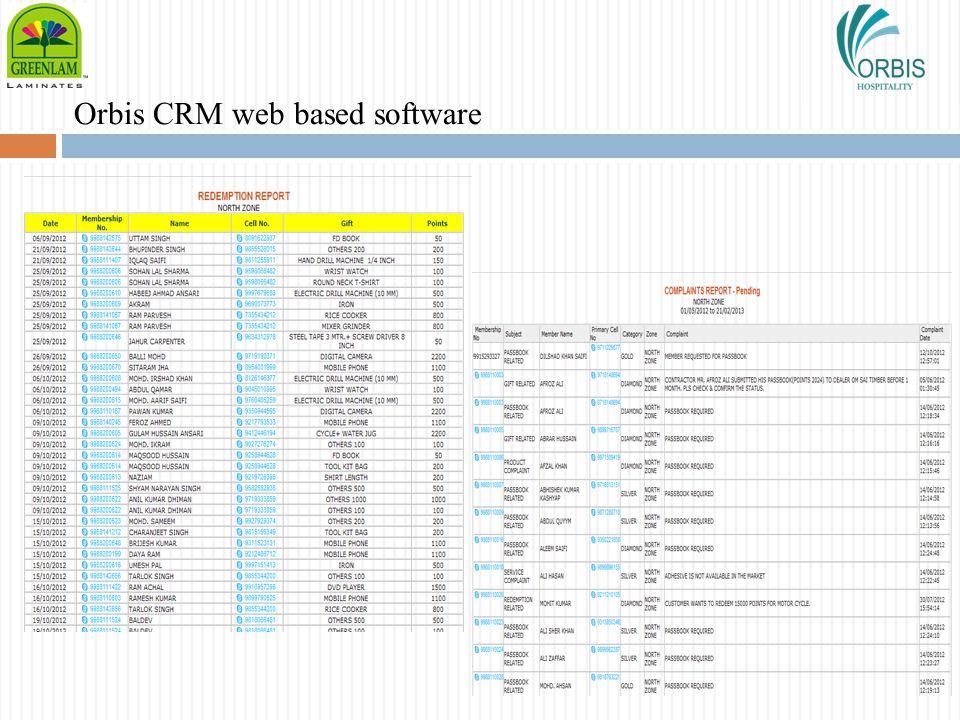 Orbis CRM web based software