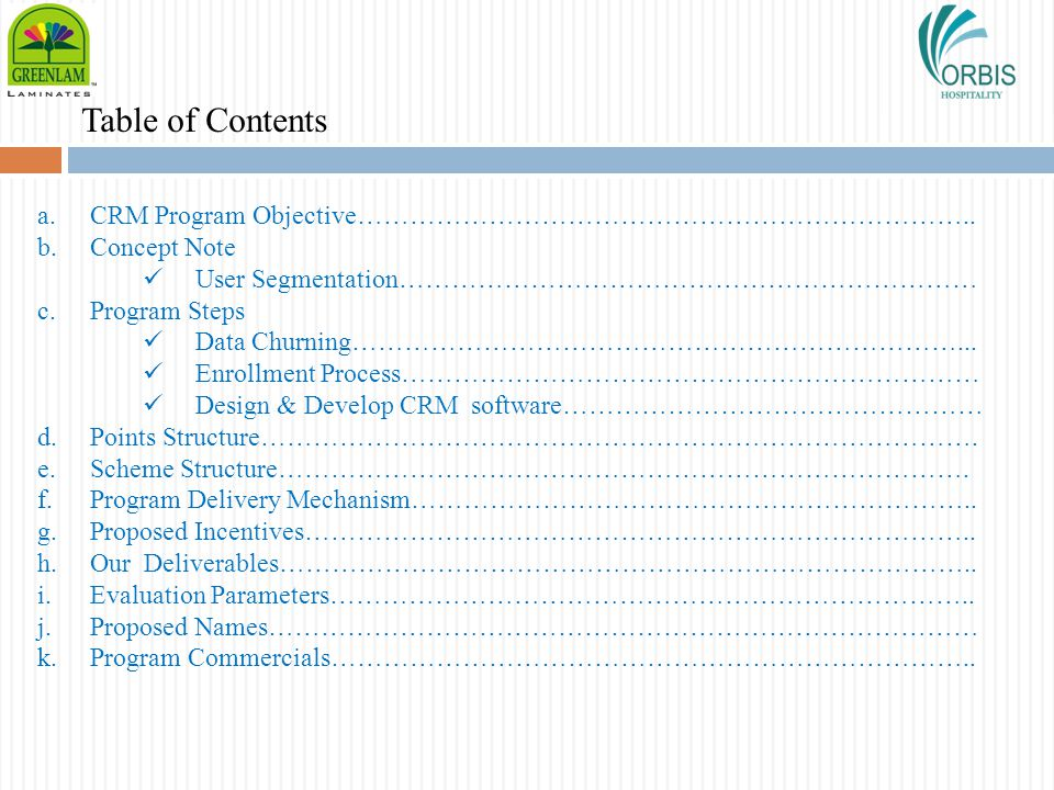 Table of Contents CRM Program Objective……………………………………………………………..