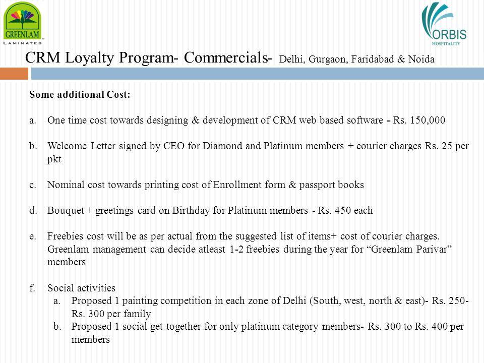 CRM Loyalty Program- Commercials- Delhi, Gurgaon, Faridabad & Noida