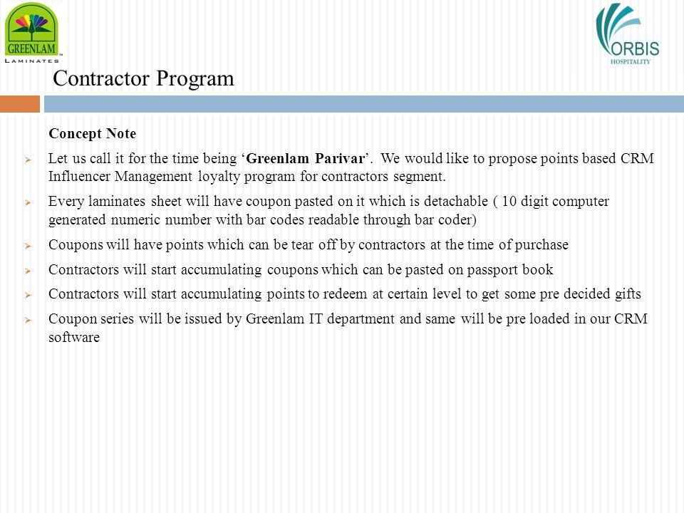 Contractor Program Concept Note