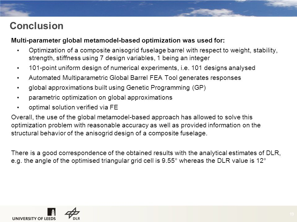 Conclusion Multi-parameter global metamodel-based optimization was used for: