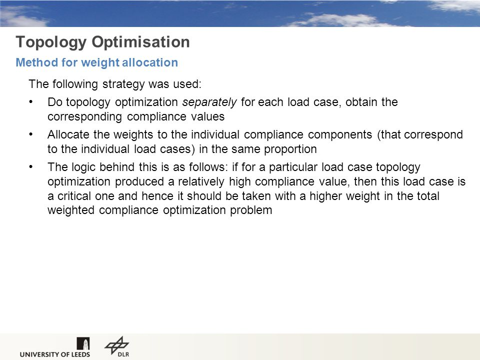 Topology Optimisation Method for weight allocation