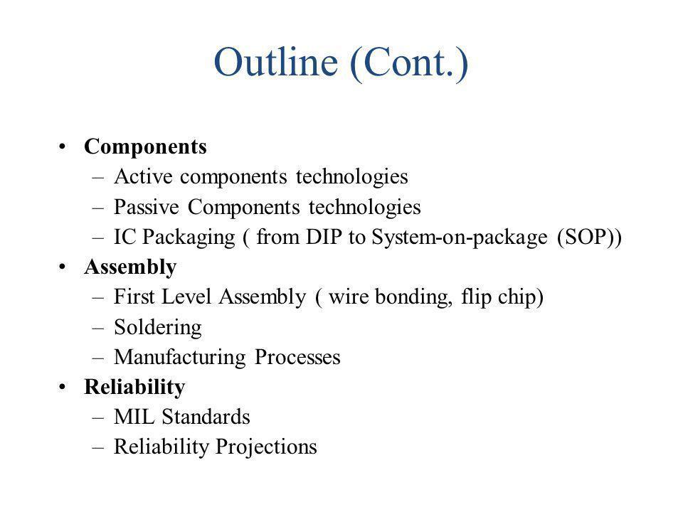Outline (Cont.) Components Active components technologies