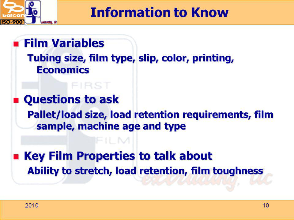 Information to Know Film Variables Questions to ask