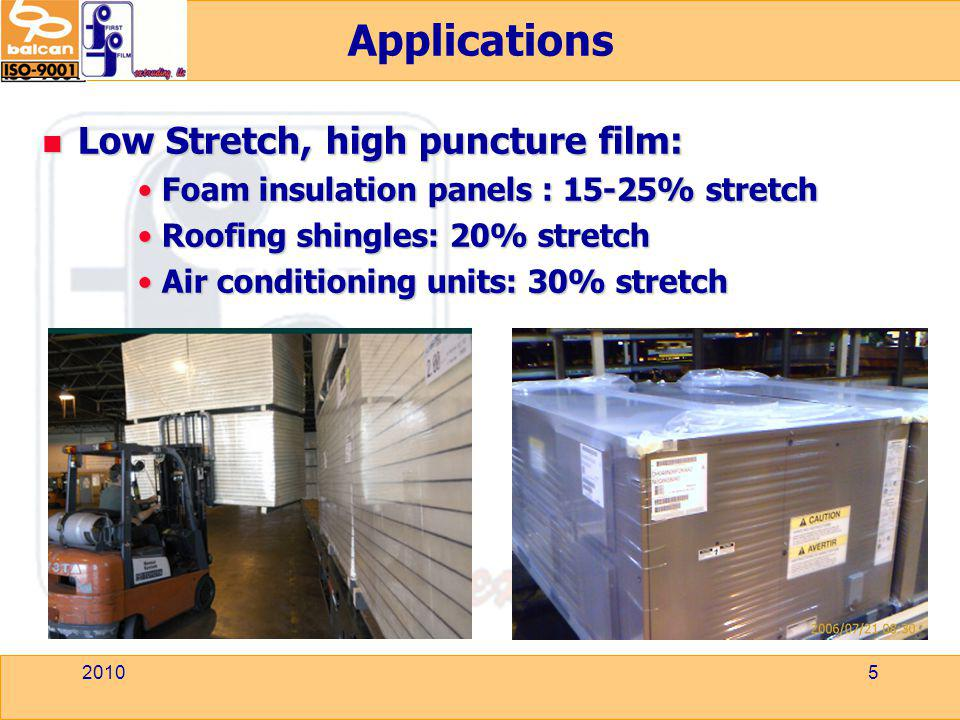 Applications Low Stretch, high puncture film: