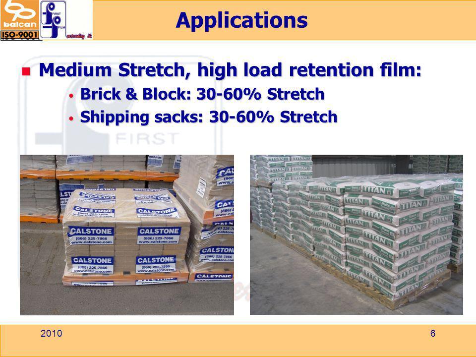 Applications Medium Stretch, high load retention film: