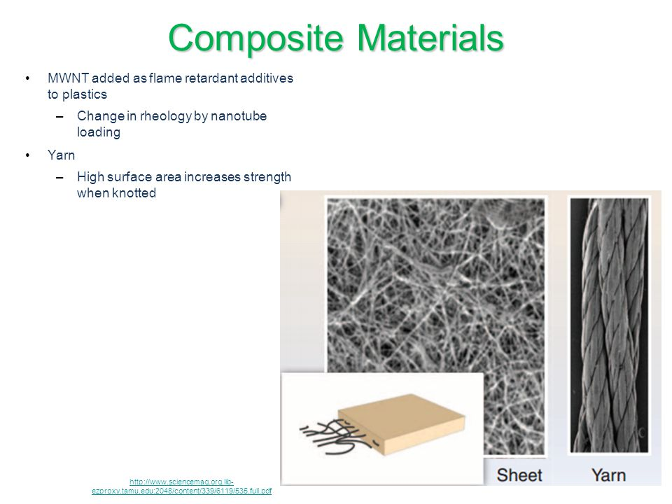 Composite Materials MWNT added as flame retardant additives to plastics. Change in rheology by nanotube loading.