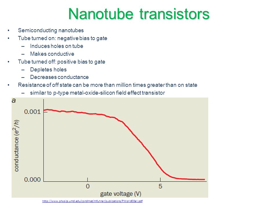 Nanotube transistors Semiconducting nanotubes
