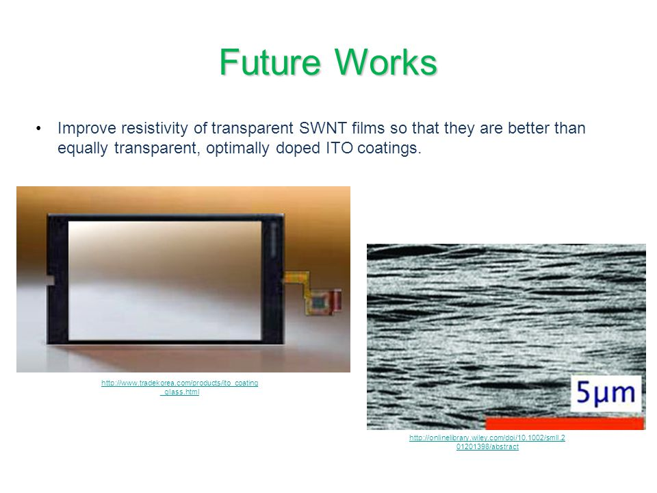 Future Works Improve resistivity of transparent SWNT films so that they are better than equally transparent, optimally doped ITO coatings.