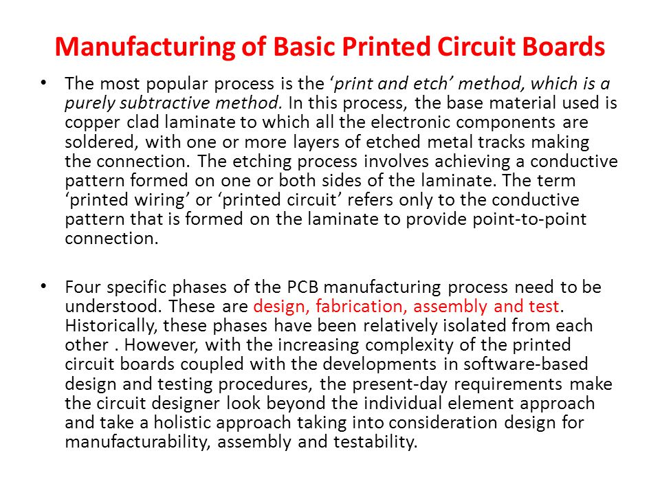 Manufacturing of Basic Printed Circuit Boards