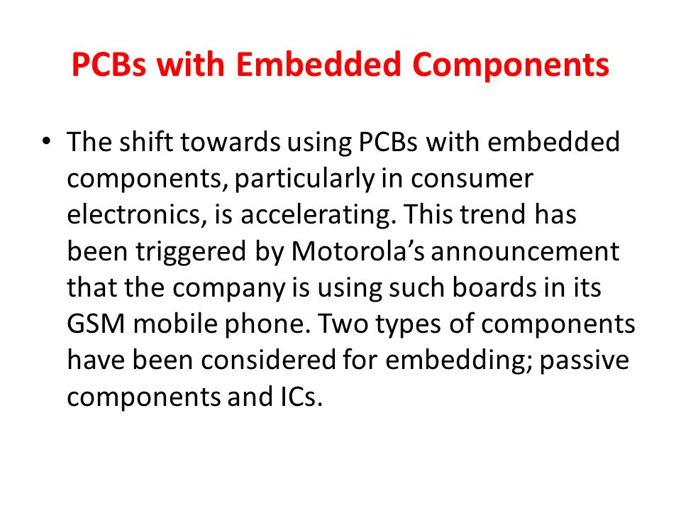 PCBs with Embedded Components