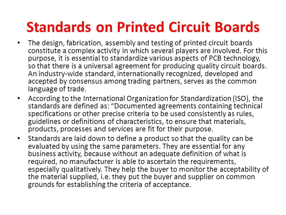 Standards on Printed Circuit Boards