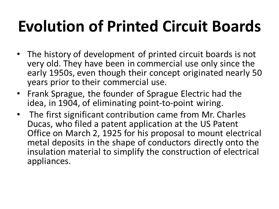 Evolution of Printed Circuit Boards