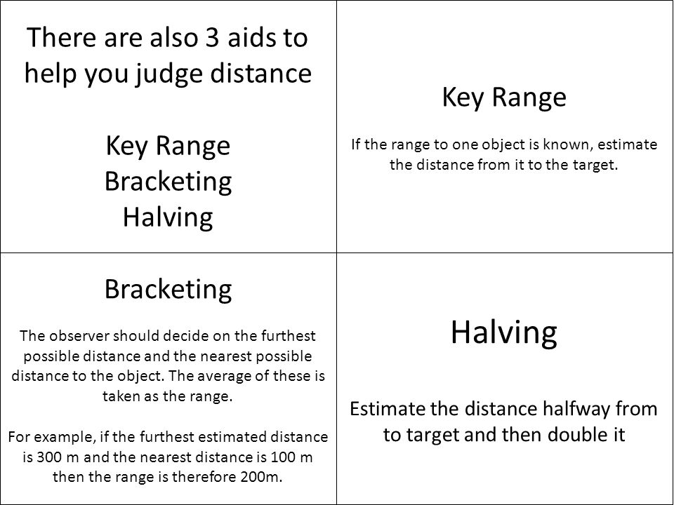 Halving There are also 3 aids to help you judge distance Key Range