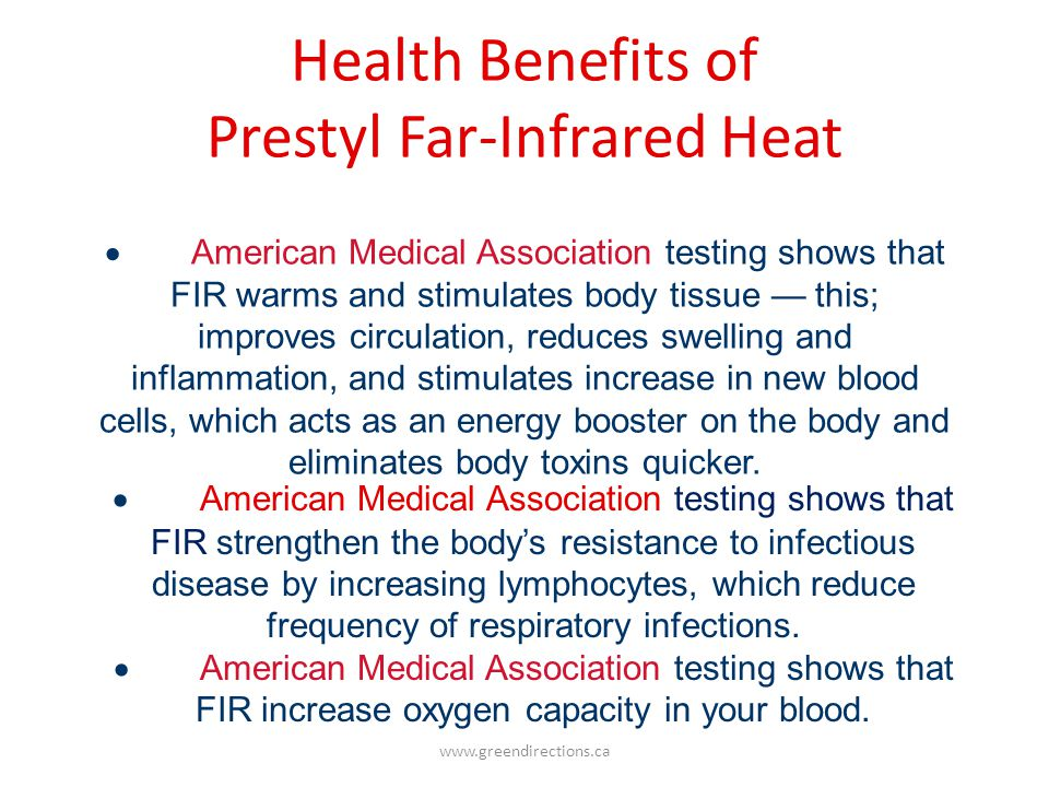 Health Benefits of Prestyl Far-Infrared Heat
