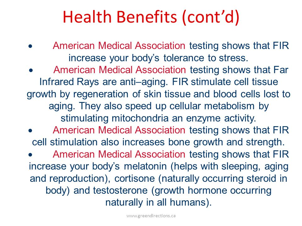 Health Benefits (cont'd)