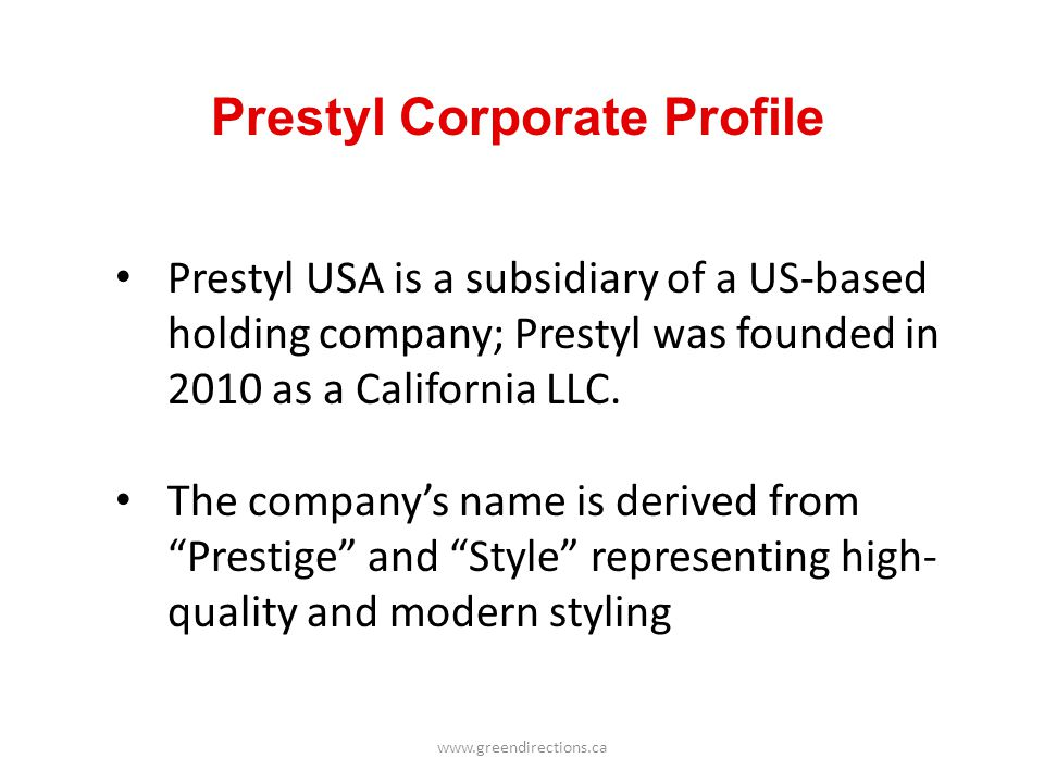 Prestyl Corporate Profile
