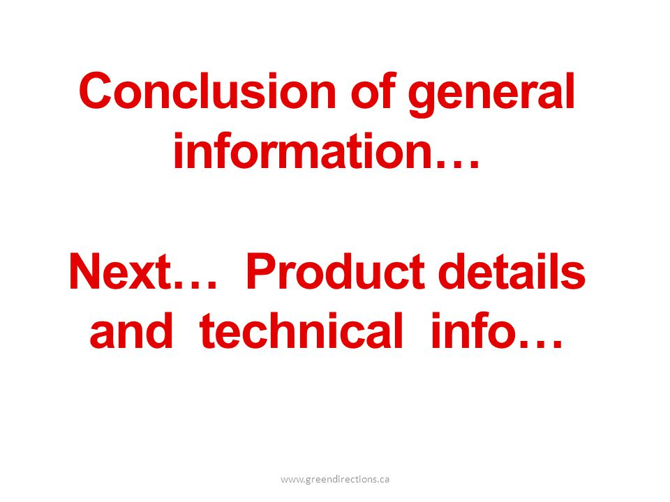 Conclusion of general information…