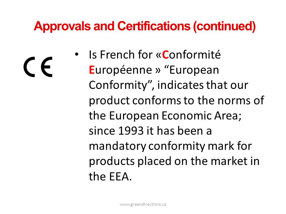 Approvals and Certifications (continued)