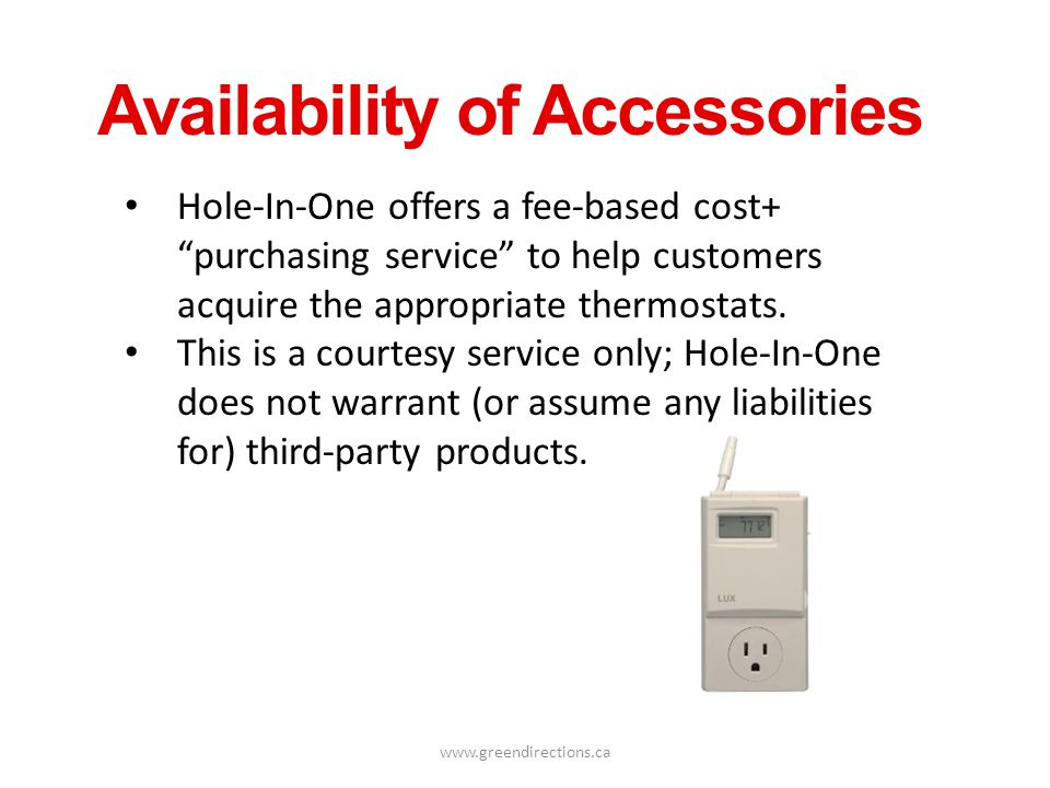Availability of Accessories