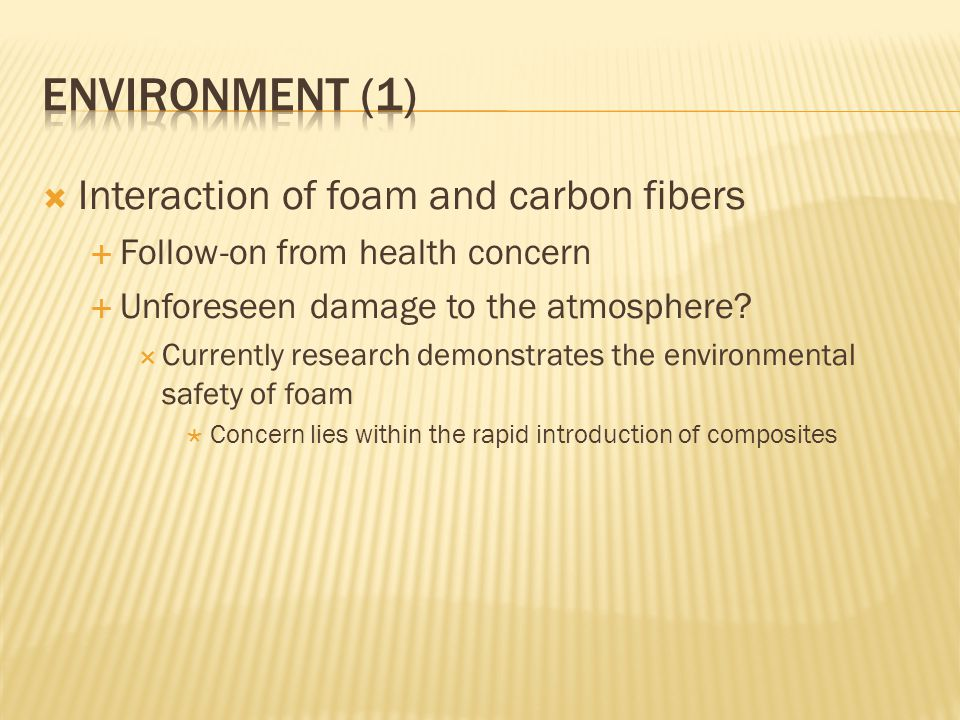Environment (1) Interaction of foam and carbon fibers