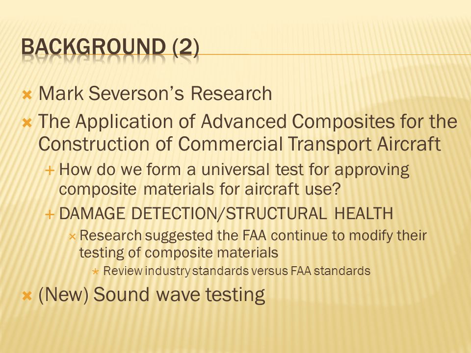 Background (2) Mark Severson's Research