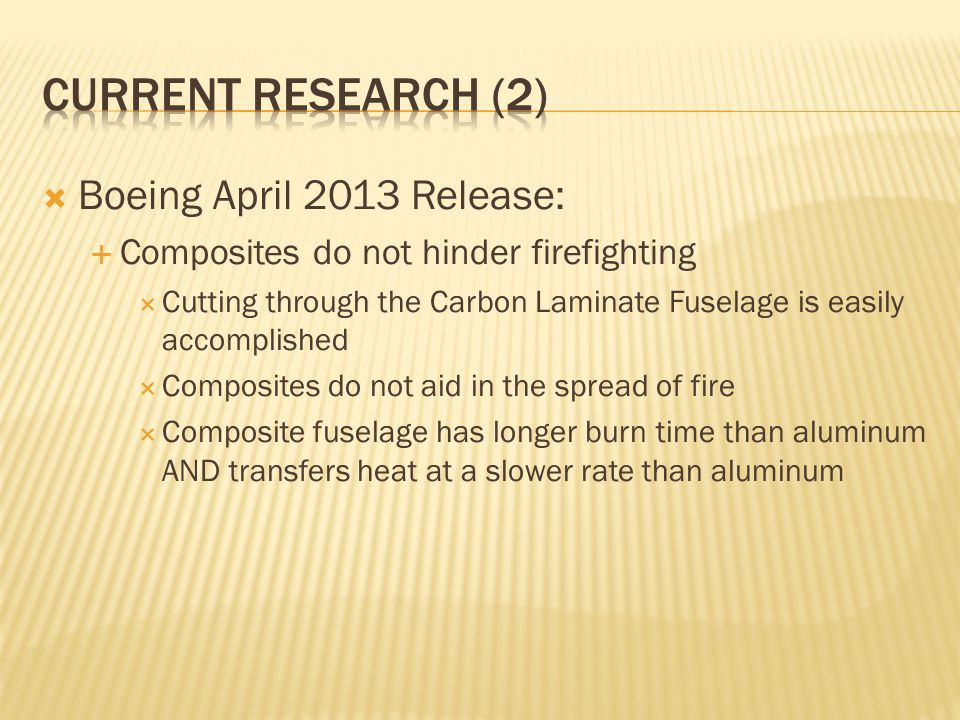 Current research (2) Boeing April 2013 Release:
