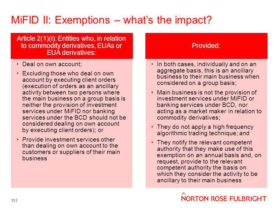 MiFID II: Exemptions – what's the impact