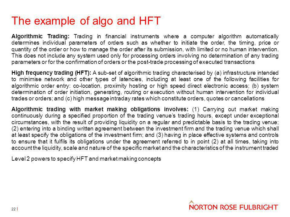 The example of algo and HFT