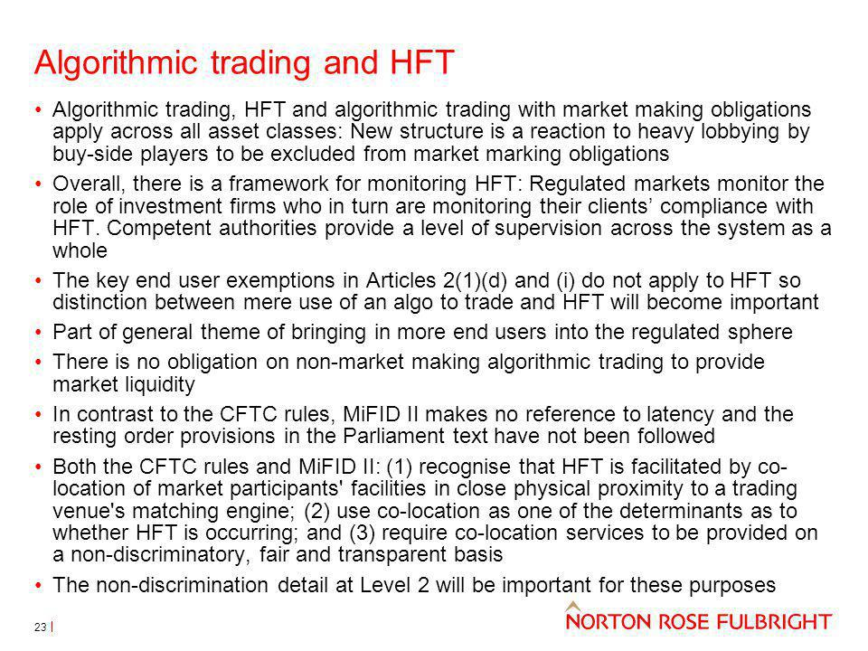 Algorithmic trading and HFT