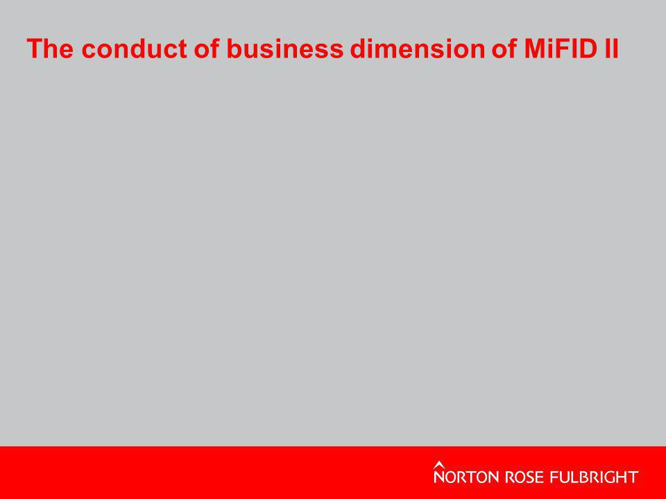 The conduct of business dimension of MiFID II