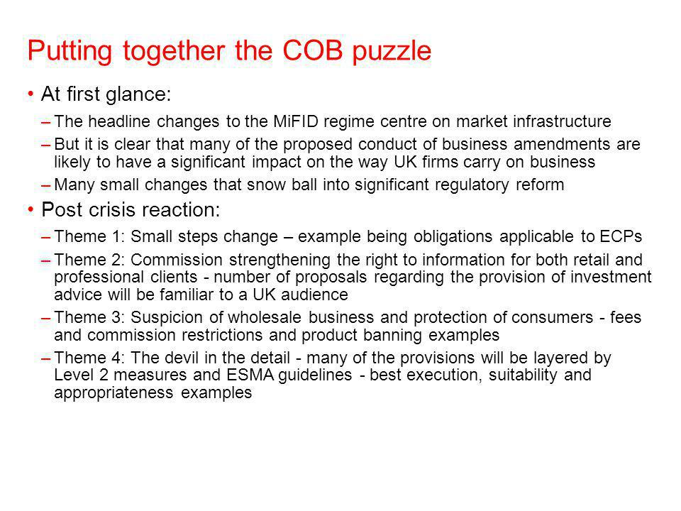 Putting together the COB puzzle