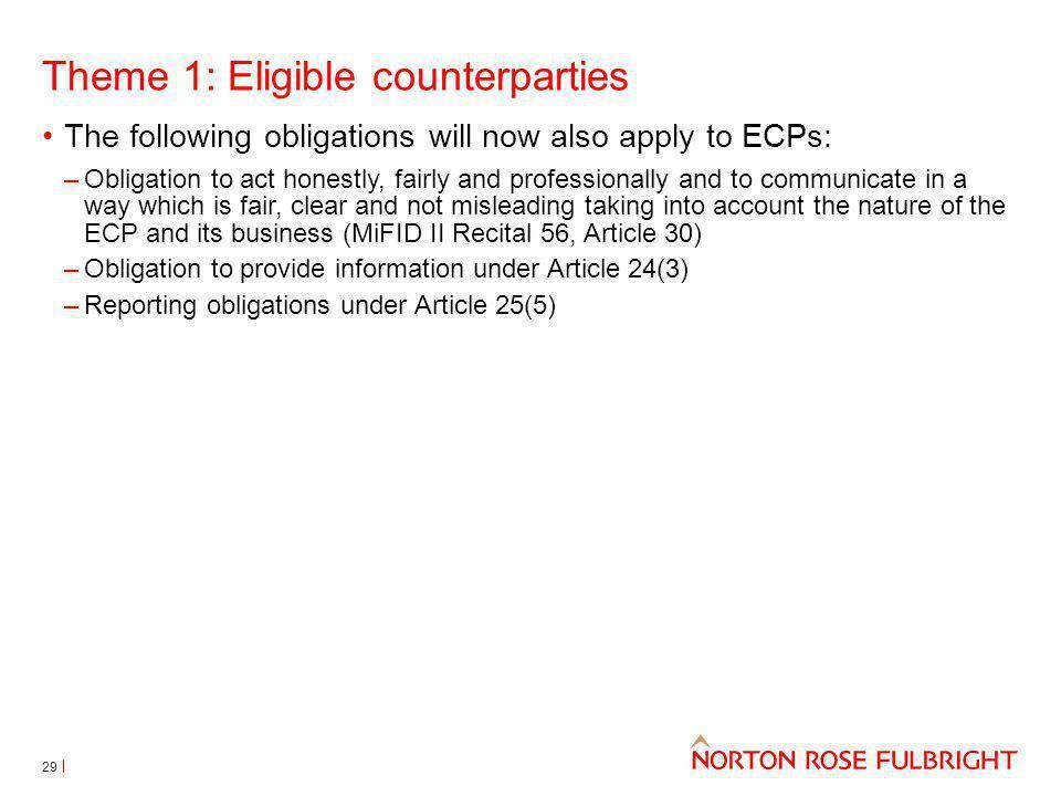 Theme 1: Eligible counterparties