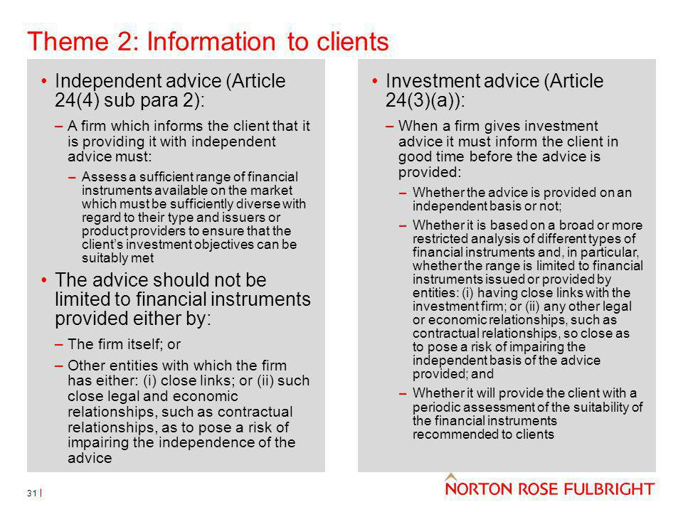 Theme 2: Information to clients