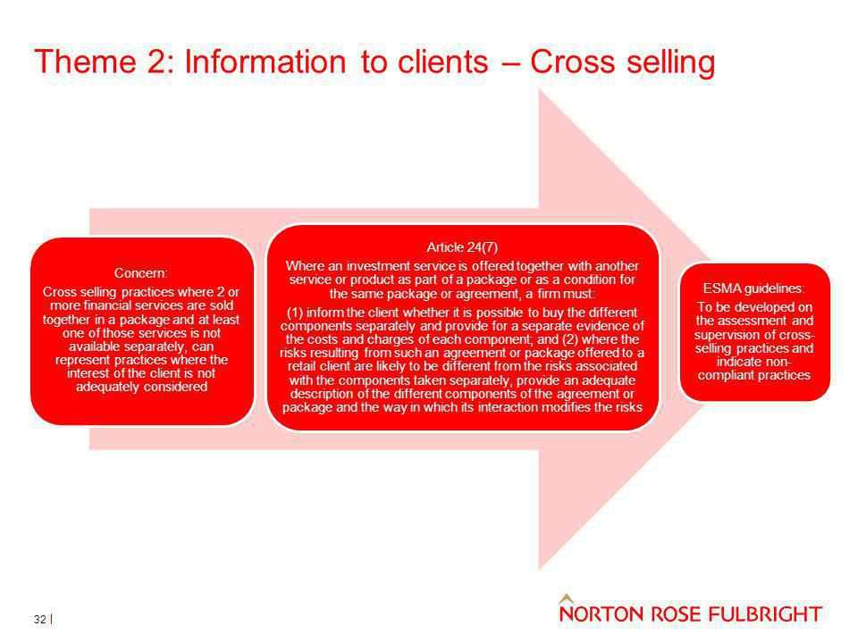 Theme 2: Information to clients – Cross selling