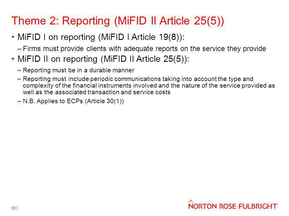 Theme 2: Reporting (MiFID II Article 25(5))