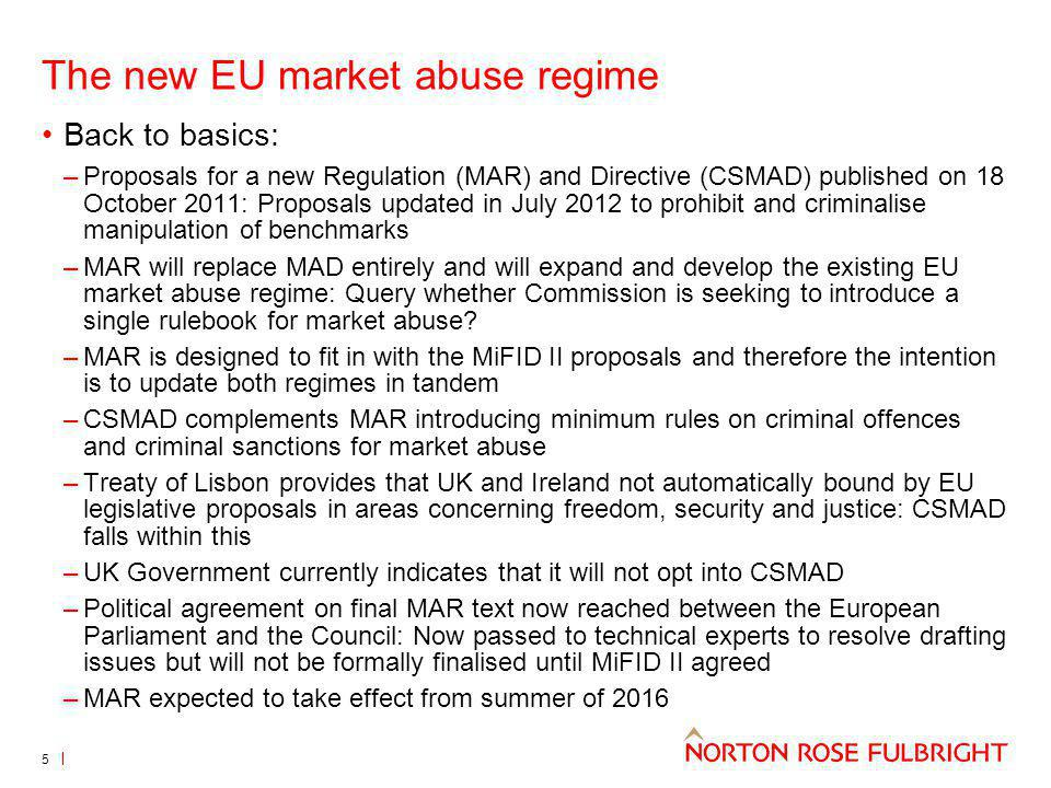 The new EU market abuse regime