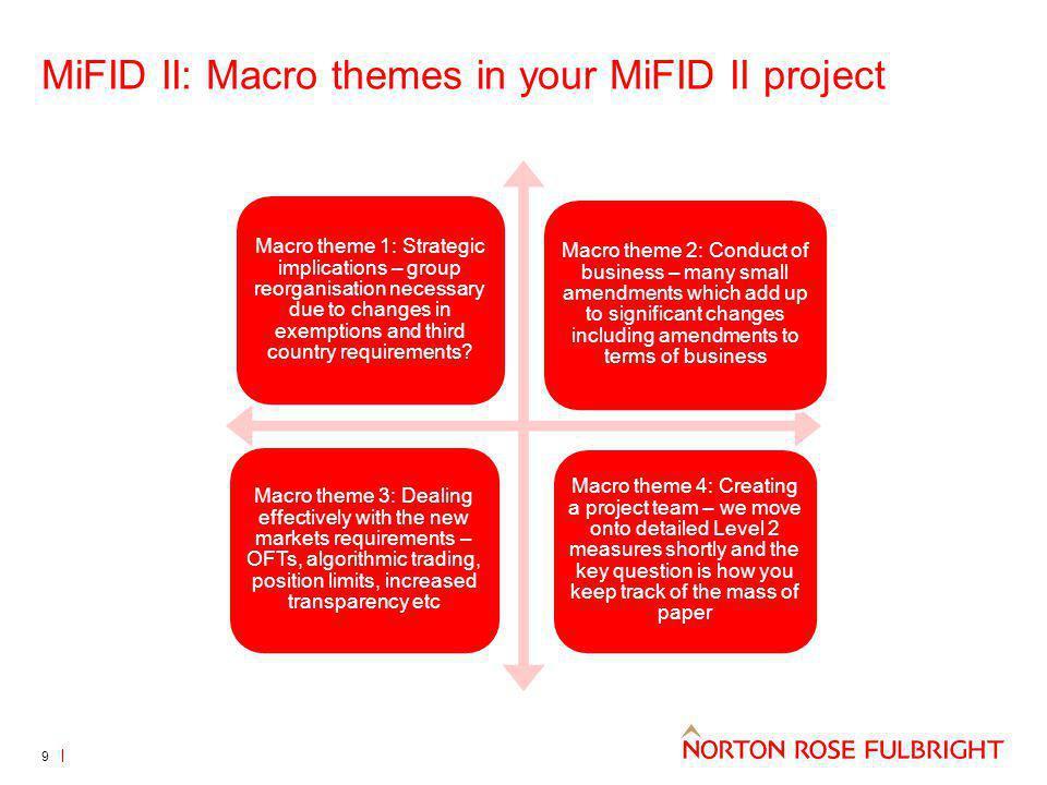 MiFID II: Macro themes in your MiFID II project