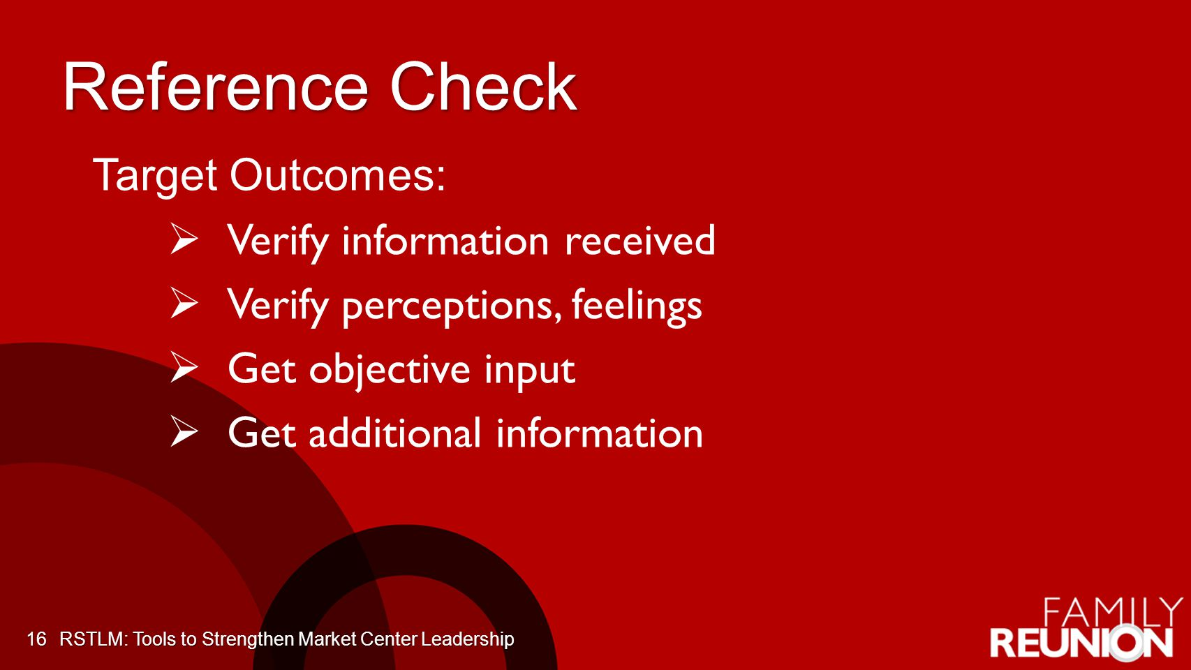 Reference Check Target Outcomes: Verify information received