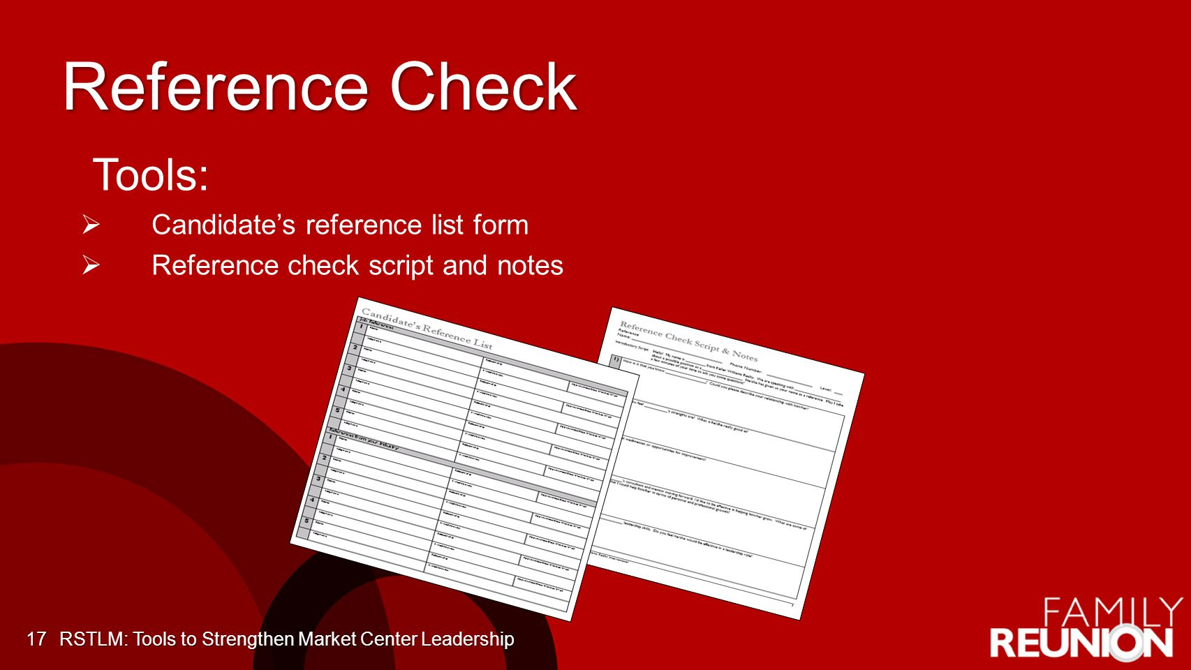 Reference Check Tools: Candidate's reference list form