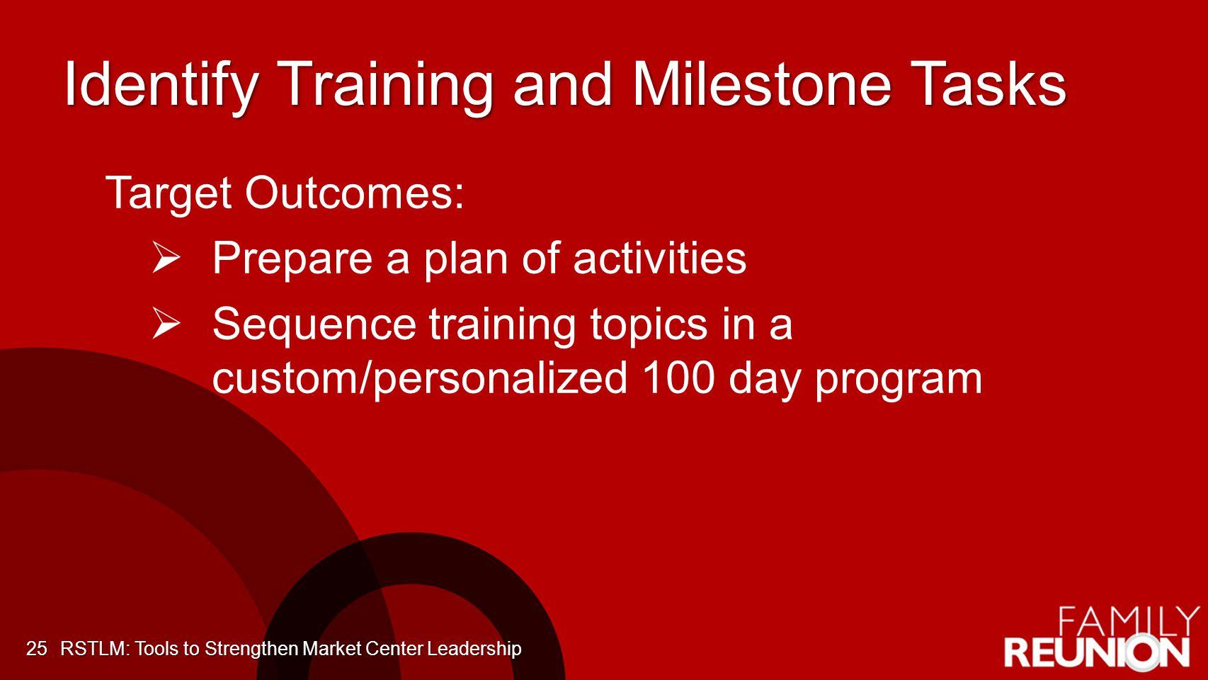 Identify Training and Milestone Tasks