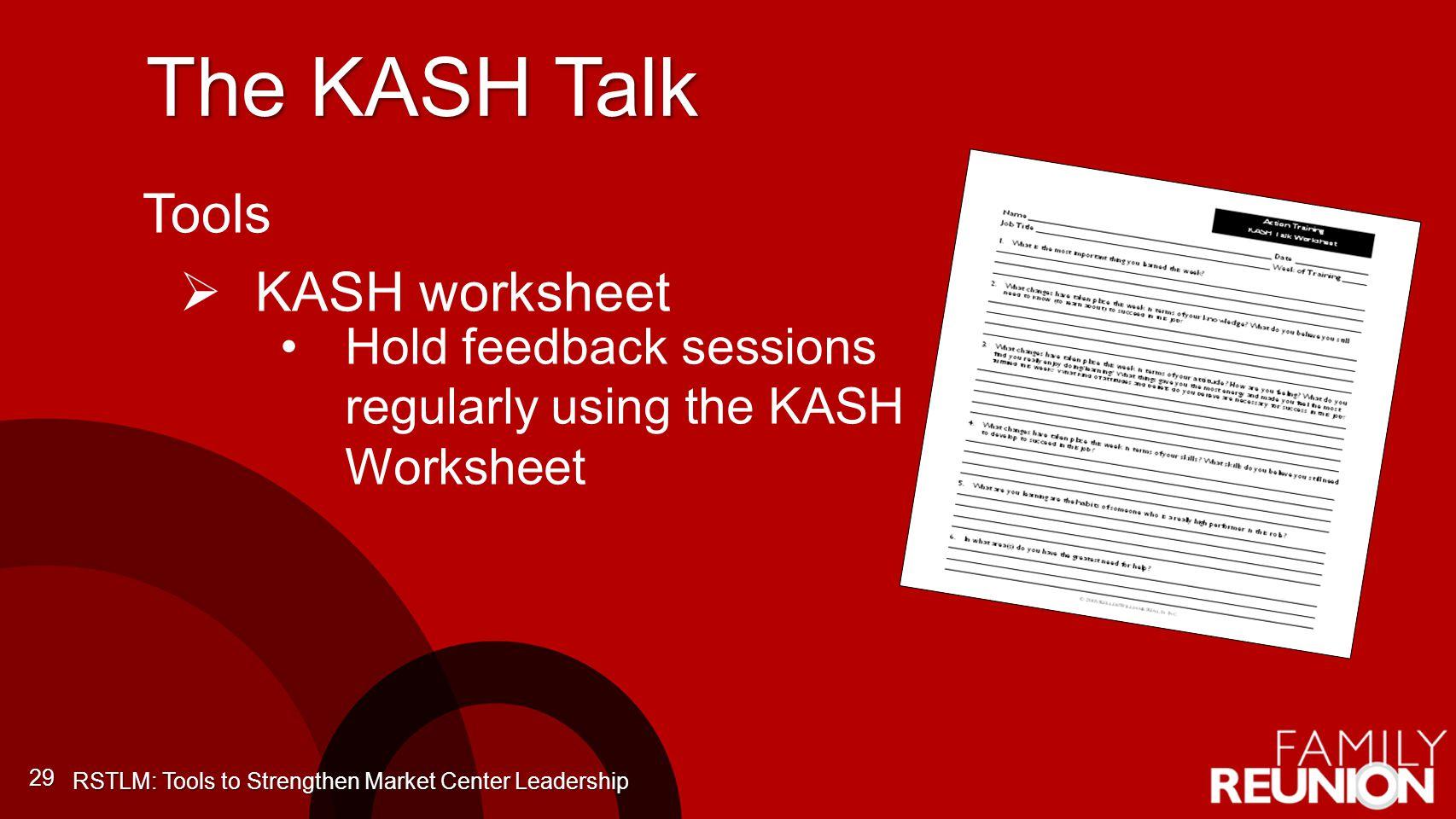 The KASH Talk Tools KASH worksheet
