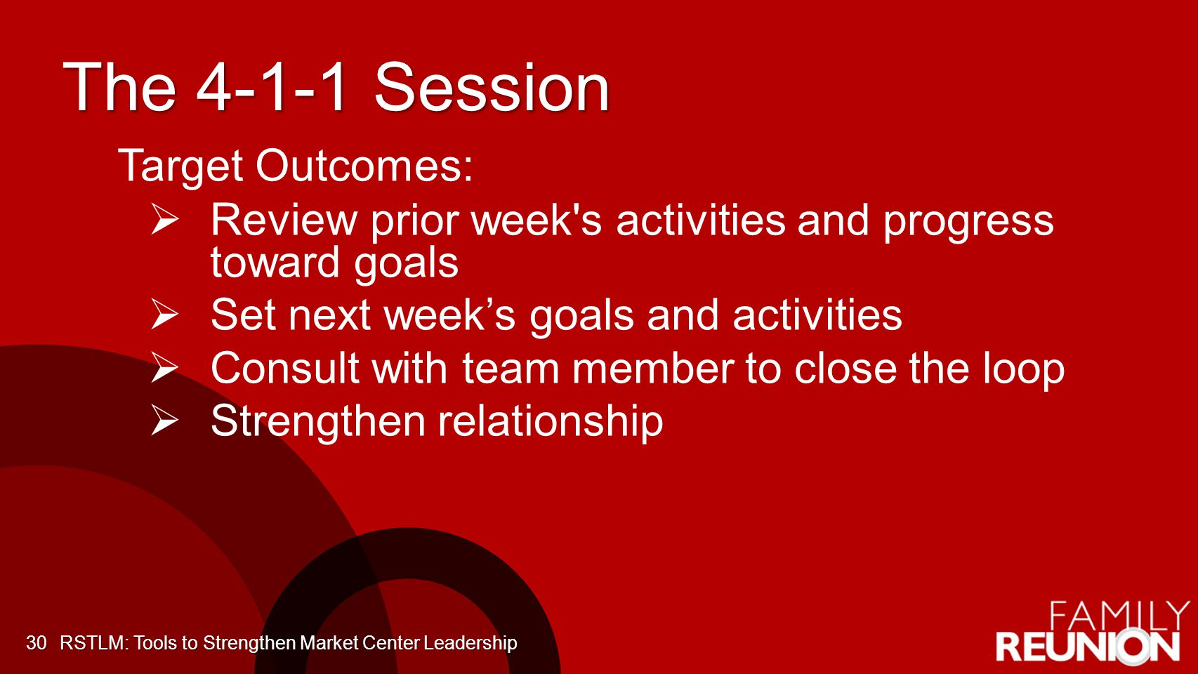 The 4-1-1 Session Target Outcomes: