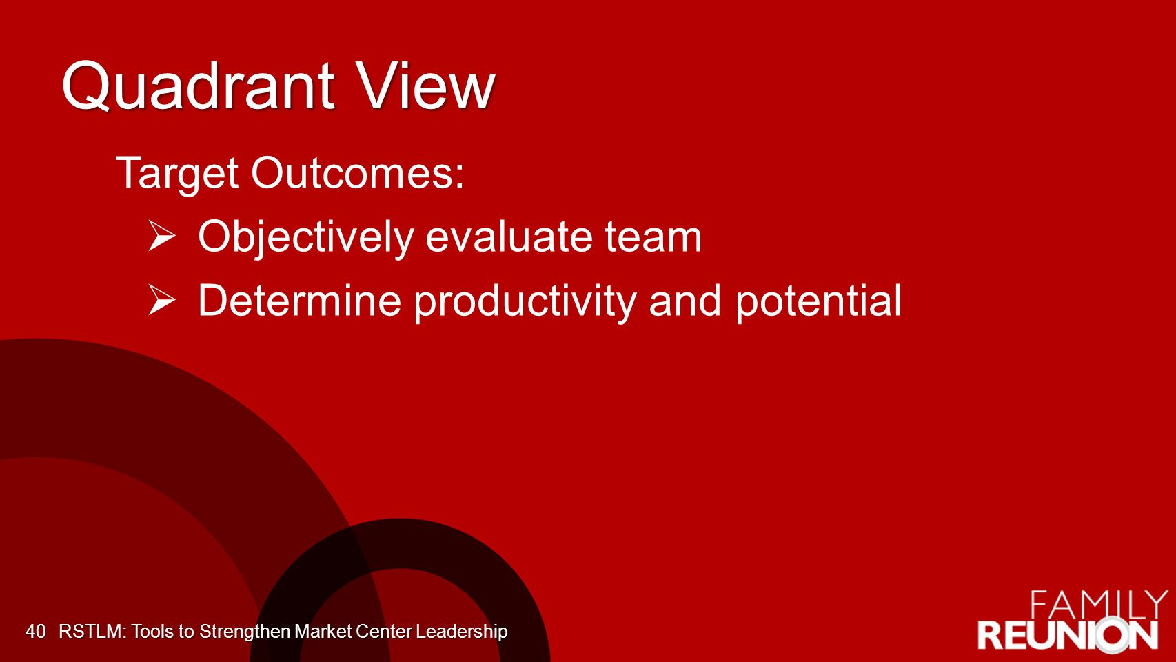 Quadrant View Target Outcomes: Objectively evaluate team