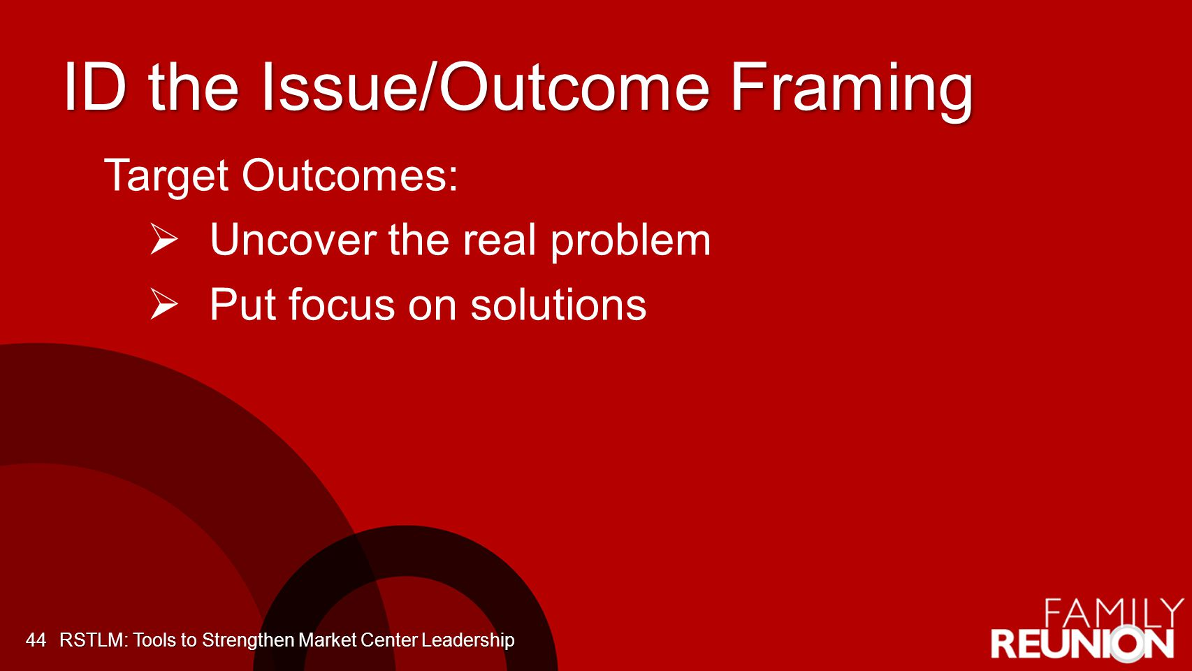 ID the Issue/Outcome Framing