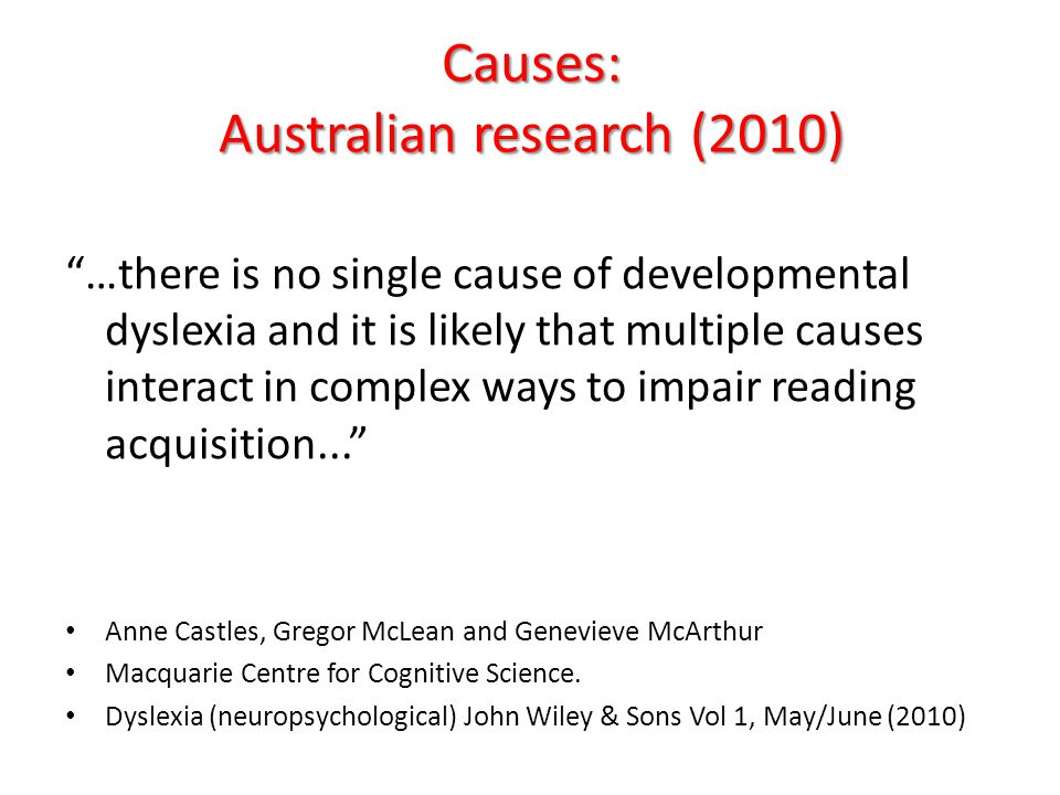 Causes: Australian research (2010)